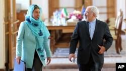 Waziri wa Mambo ya Nje wa Iran, Mohammad Javad Zarif na Mkuu wa Sera za Mambo ya Nje wa Umoja wa Ulay, Federica Mogherini.