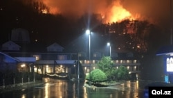 A wildfire burns on a hillside after a mandatory evacuation was ordered in Gatlinburg, Tennessee in a picture released Nov. 30, 2016.