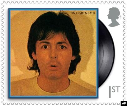 Salah satu perangko khusus seri musisi Paul McCartney. (Royal Mail via AP)