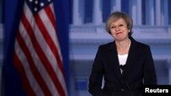La primera ministra británica, Theresa May, habló ante legisladores republicanos en Filadelfia, el jueves, 26 de enero, de 2017.