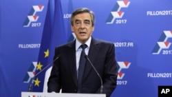 法国前总理菲永在竞选总部讲话