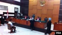 Rasyid Amrullah Rajasa saat menghadiri sidang di pengadilan negeri Jakarta Timur (VOA/Andylala).