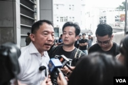 香港民主党主席胡志伟接受媒体采访。(2019年9月17日)