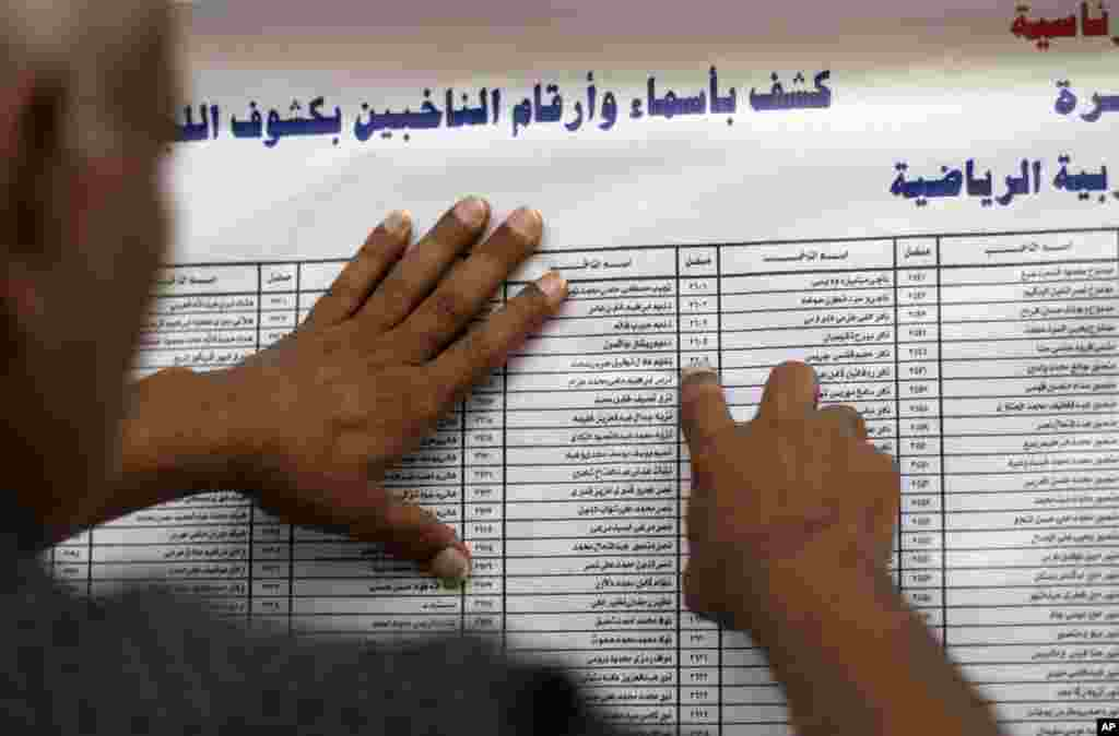 An Egyptian man checks a list of voters in the country's presidential election at a polling site in the Zamalek neighborhood of Cairo, Egypt, May 23, 2012.