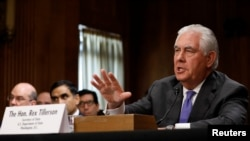 "FILE - U.S. Secretary of State Rex Tillerson, shown testifying before a congressional committee, June 13, 2017, says ""we have not given up hope"" that North Korea can be persuaded to give up its nuclear program."