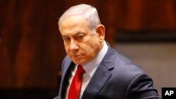 베냐민 네타냐후 총리가 29일 의회 해산안 투표를 위해 예루살렘의 의회에 도착했다.