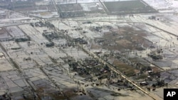An aerial view of devastation caused by cyclone Nargis in Burma, which claimed nearly 22,000 lives, May 6, 2008