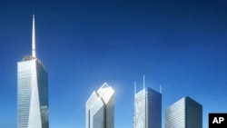 A rendering of the new World Trade Center site. Not all the buildings shown are yet under construction