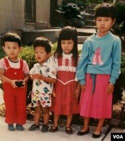 Khemarey Khoeun, far right, as a young girl. (Courtesy of Khoeun)