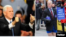 گلن پنل در نقش مایک «هات» پنس (راست)، و مایک پنس معاون ریاست جمهوری منتخب آمریکا