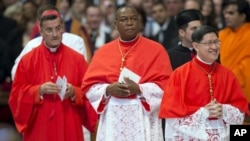 Bechara Boutros Rai, Patriarch of Antioch of the Maronites in Lebanon (far left), Nigeria's Archbishop John Olorunfemi Onaiyekan (center) and Philippines Archbishop Luis Antonio Tagle (right) attend a consistory presided by Pope Benedict XVI inside St. Peter's Basilica at the Vatican, Nov. 24, 2012.