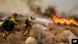 Пожарные борются с лесным пожаром, Калифорния, 8 августа 2013.