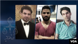 Foto kakak-beradik Iran yang dikenai hukuman berat karena terlibat insiden kekerasan dalam unjuk rasa anti-pemerintah pada di Shiraz, Iran. Dari kiri ke kanan: Habib, Navid, and Vahid Afkari Sangari. (VOA Persian)