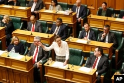 FILE - New Zealand Prime Minister Jacinda Ardern speaks in the parliament on Dec. 2, 2020, in Wellington.