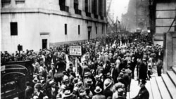 "Crowds gather in the Wall Street district of Manhattan in reaction to the heavy losses on the stock market on October 24, 1929, or ""Black Thursday"""