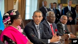 President Barack Obama in the Cabinet Room of the White House after a meeting with, from left, Malawi President Joyce Banda; Sierra Leone President Ernest Bai Koroma; and Cape Verde Prime Minister José Maria Pereira Neves , March 28, 2013.