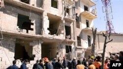 Spasilačke ekipe na mestu eksplozije u Alepu