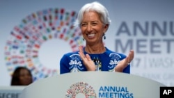 FILE: International Monetary Fund Managing Director Christine Lagarde speaks at the annual meetings' plenary during the World Bank/IMF Annual Meetings in Washington, Oct. 13, 2017.