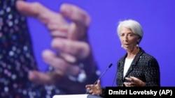 IMF Başkanı Christine Lagarde St. Petersburg Uluslararası Ekonomik Forumu'nda konuşurken