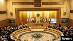 Menteri-menteri Luar Negeri Liga Arab mengadakan rapat darurat terkait keputusan Presiden AS Donald Trump mengakui Yerusalem sebagai ibukota Israel, di Kairo, Mesir, 9 Desemerb 2017.