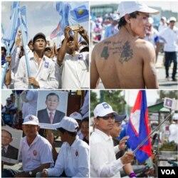 ទិដ្ឋភាពការដង្ហែក្បួនឃោសនាបោះឆ្នោតថ្ងៃចុងក្រោយរបស់គណបក្សប្រជាជនកម្ពុជា និងគណបក្សសង្រ្គោះជាតិកាលពីព្រឹកថ្ងៃទី០២ ខែមិថុនា ២០១៧ រាជធានីភ្នំពេញ។ (VOA Khmer)