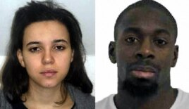 French police released these images of suspects Hayat Boumeddiene, left, and Amedy Coulibaly, on Jan. 9, 2015.