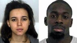 Hayat Boumeddiene, 26 tuổi, bạn gái của Amedy Coulibaly (phải), kẻ đã giết chết bốn người đi mua hàng tại một chợ thực phẩm Do Thái ở Paris hôm 9/1/2015 trước khi bị các lực lượng an ninh hạ sát.