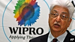 Azim Premji, chairman of Wipro Company speaks at Wipro campus in the southern Indian city of Bangalore (file photo)