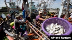 Fshermen unload fish following a fishing trip in the Gulf of Thailand in Samut Sakhon Province, west of Bangkok. Thailand. (File)