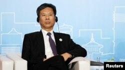 中国财政部长刘昆2018年5月28日在上海出席新开发银行(又称金砖国家开发银行)第三届年会。