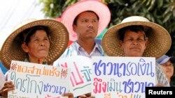 泰国农民在曼谷郊外举着标语抗议,要求总理英拉解决按照稻米补贴项目应该发放给他们的款项。(2014年2月6日资料照)