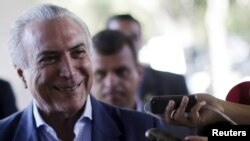 FILE - Brazil's President Michel Temer. Temer has been linked to one of the country's biggest corruption scandals in testimony by a key witness made public Wednesday.
