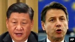 시진핑 중국 국가주석과 주세페 콘테 이탈리아 총리.