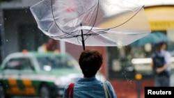 태풍 종다리가 상륙한 일본.