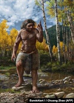 """考古學家根據研究推論模擬出""""龍人""""的複原圖。(法新社提供)"""