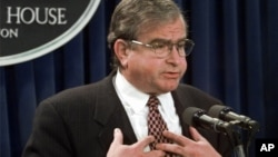 FILE - National Security Adviser Sandy Berger meets reporters in the White House briefing room Tuesday, Nov. 18, 1997, to discuss the situation in Iraq.