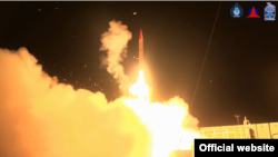 An Arrow 3 anti-missile interceptor, jointly developed by the Israeli and U.S. governments, is test-fired from central Israel on February 19, 2018. Officials of both governments said the interceptor successfully reached a simulated target outside of the Earth's atmosphere (screen grab from Israeli Defense Ministry video).