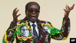 FILE - Zimbabwean President Robert Mugabe addresses people at an event before the closure of his party's 16th Annual Peoples Conference in Masvingo, south of the capital Harare.