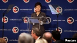 Tổng thống Nam Triều Tiên Park Geun-hye nói chuyện tại Phòng thương mại khi đến thăm Washington, 8/5/13