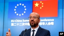 Presiden Dewan Eropa Charles Michel dalam konferensi pers di akhir KTT UE-China virtual di Kantor Dewan Eropa di Brussels, Senin, 22 Juni 2020.