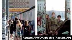 遊客在 2019年參觀柏林牆的餘下部分 (左) ,東德士兵在1989年注視著柏林牆(右)