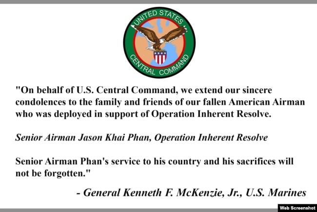 Thông điệp chia buồn của Tướng Kenneth F. McKenzie, Jr., Photo CENTCOM.