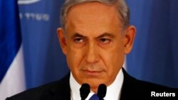 11일 벤자민 네타냐후 이스라엘 총리가 가자지구 공습과 관련하여 텔아비브에서 기자회견을 가졌다.