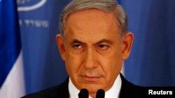 Perdana Menteri Israel Benjamin Netanyahu dalam konferensi pers di Kementerian Pertahanan di Tel Aviv (11/7).