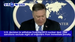 VOA60 America - US Reimposes Sanctions on Iran's Oil, Financial Sectors