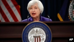 FILE - Federal Reserve Chair Janet Yellen speaks during a news conference following the Federal Open Market Committee meeting in Washington, Dec. 13, 2017.