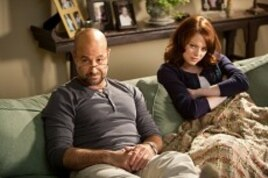"Stanley Tucci as Olive's father ""Dill"" and Emma Stone as ""Olive Penderghast"" in Screen Gems' EASY A."