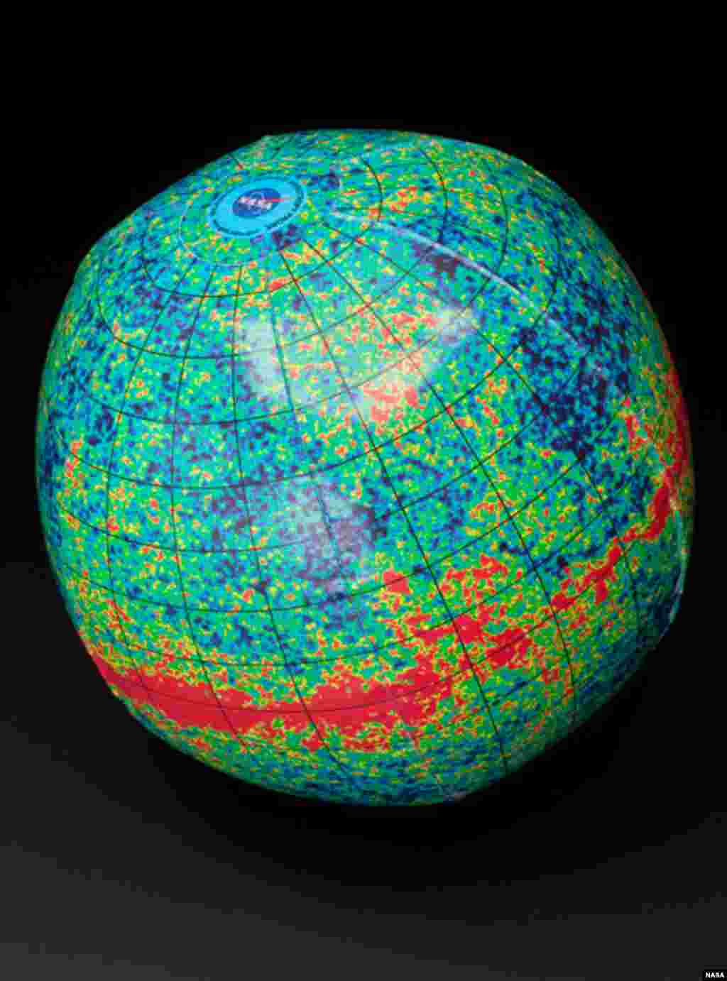 This cosmic beach ball displays a full-sky map of the microwave radiation left over from the Big Bang event that created the universe 13.7 billion years ago. (NASA)