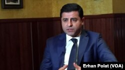 FILE - Selahattin Demirtas, the co-chairperson of the pro-Kurdish People's Democratic Party of Turkey, speaks to the Voice of America Turkish Service.