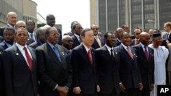 에티오피아의 수도 아디스 아바바에서 개막된 아프리카연합(AU) 정상회담에 참석한 반기문(사진중앙) 유엔 사무총장